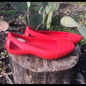 Crocs Red Ballet Flats